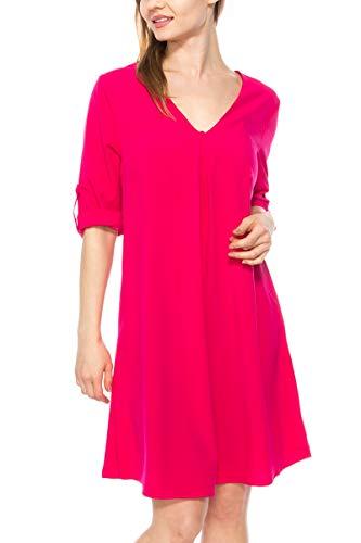 KLKD A175 Women's Solid V Neck Rolled Up Cuffed Sleeve Swing Shift Mini Dress Chiffon Tunic Top, Fuchsia, X-Large