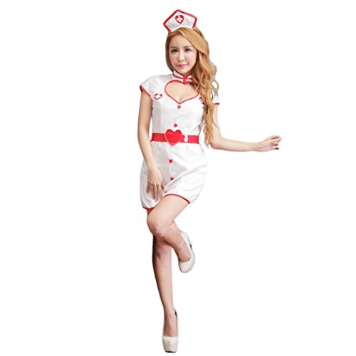 Sweet Sexy Nurse Costumes (HÖTER Women's Naughty White Nurse Dress Halloween Sweet Party Cosplay Costume Set/Sexy Lingerie)