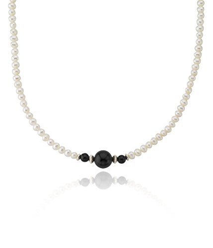(Sterling Silver 5-6mm White Freshwater Cultured Pearl 12mm Simulated Black Onyx Necklace,)