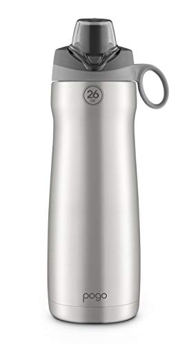 Pogo Vacuum Stainless Steel Water Bottle with Chug Lid, Grey, 26 Oz.
