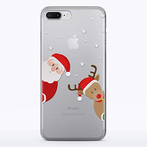 (WolfCase Santa Claus Deer Case Cell Phone Silicone Plastic Case for Apple iPhone X / 10/8 / 7 / plus iPhone 6 / 6S plus iPhone 4 / 4S iPhone 5 / 5S / 5C / SE Protective Cover Merry Christmas, RD1475)