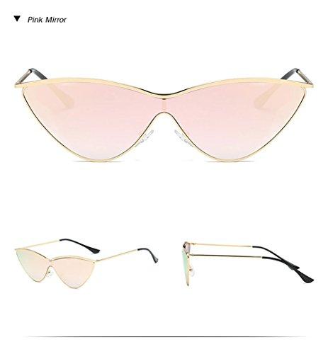 Damas de de gato rojo gafas de Retro Espejo rosa sol negro Gafas Diseñador de gafas marca sol de Vintage ojo de mujer color Espejo Rosa una pieza qTw7BE
