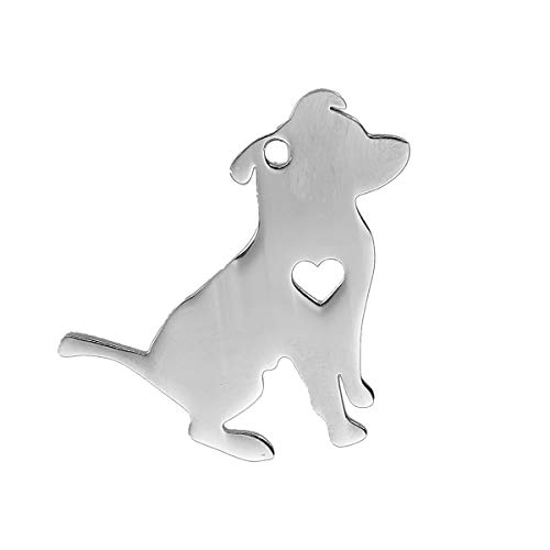 PEPPERLONELY 1pc Silver Tone Stainless Steel Pet Silhouette Pit Bull Terrier Animal has My Heart Charms Pendants 31x29mm (1-1/4