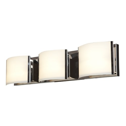 Nitro 2 - 3-Light Vanity - Brushed Steel Finish - Opal Glass Shade (Sconce Halogen Steel)
