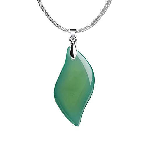 iSTONE 925 Sterling Silver Natural Gemstone Green Agate Leaf Shape Ladies Pendant Necklace, Gemstone Birthstone with 18