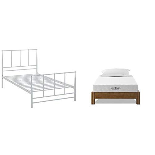 "Modway Estate Bed, Twin, White with Modway Aveline 6"" Gel Infused Memory Foam Twin Mattress With CertiPUR-US Certified Foam"