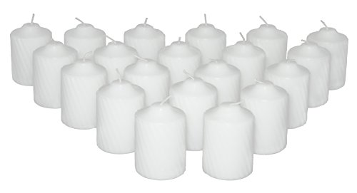 Jasmine Votive Candle - 15 Hour Jasmine Scented White Votive Candles 20 Candles Per Box with Texured Finish (White Jasmine Scent)