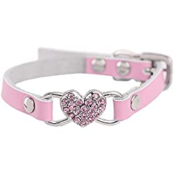 TnaIolr Pet Collar Personalized Adjustable Rhinestone Peach Heart Leather Pet Puppy Dog Collar Neck Strap