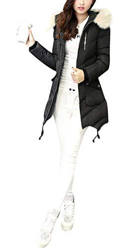 Pelliccia Cerniera Puro Primaverile Colore Autunno Fashion Giacca Giovane Sintetica Lunga Donna Irregolare Comodo Cappotto A Manica Casual Giacche Schwarz Trapuntata Chiusura Piumini In Collo SHxY6