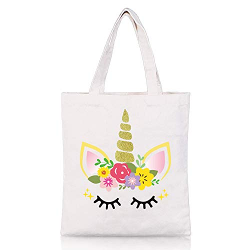 Unicorn Tote Bag - Reusable Canvas Shopping Grocery School Bag Unicorn Gift for Girls Women ()