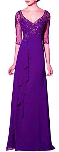 Damen V Braut Violett Applikation Sleeve emmani Chiffon Kleid Neck 's Long Mutter OdqWx1