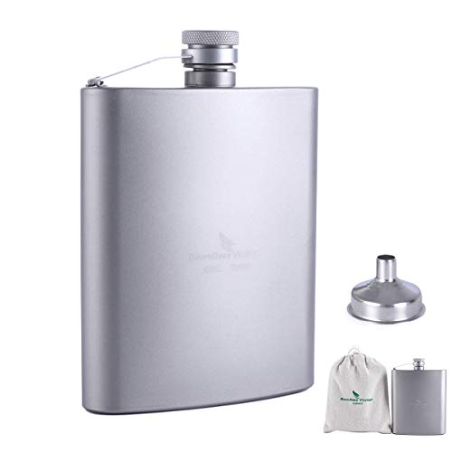 iBasingo 200ml Titanium Pocket Flagon Outdoor Sports Flat Liquor Flask Camping Ultralight Portable Wearproof Wine Pot Hip Flask for Backpacking Hiking (Ti1504I)