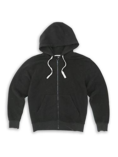 H&W TANK's Choice Men's Basic Zip Down Fleece Hoodie Jacket for Big and Tall Charcoal