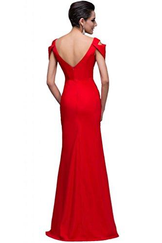 sunvary cuello en V Cap Sleeve vaina longitud de pie vestidos de noche Pageant Rosso