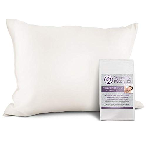 """Pure Silk Pillowcase - Ivory King Size (20"""" x 36"""") - 19 Momme 100% Mulberry Silk, Front and Back - Envelope Closure - Oeko-TEX Certified"""