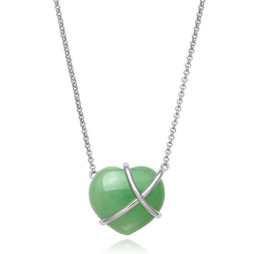 Sterling Silver Natural Jade Heart Charm Necklace -