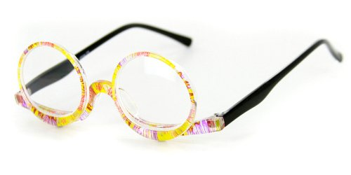 """""""Makeup Reader""""Round Reading Glasses with a Hinge by Ritzy Readerss (Multi Colored +3.50)"""