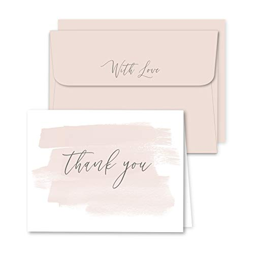 48 Blank Thank You Cards, for Bridal, Wedding and Baby Shower with Matching Envelopes by Well Krafty]()