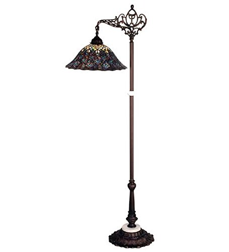 (Meyda Tiffany 65840 Tiffany Peacock Feather Bridge Arm Floor Lamp, 61