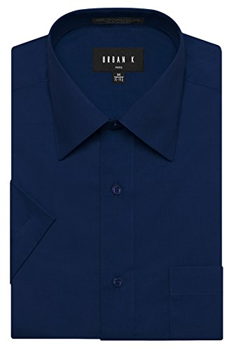 URBAN K Men's Classic Fit Solid Formal Collar Short Sleeve Dress Shirts Regular and Plus Size navy L / 16-16.5 N