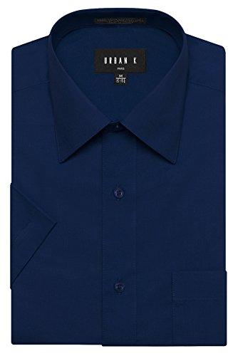 URBAN K Men's Classic Fit Solid Formal Collar Short Sleeve Dress Shirts Regular & Plus Size, Ubk-navy, M/15-15.5 - Urban Blue Shirt