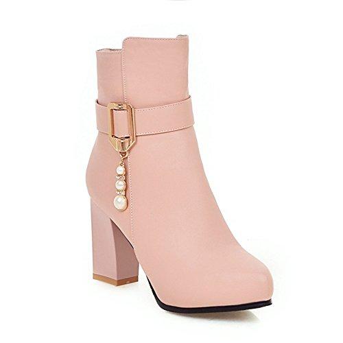 Señaló Qxw gruesas y tacón alto Zipper Color sólido de mujeres botas cortas Pink