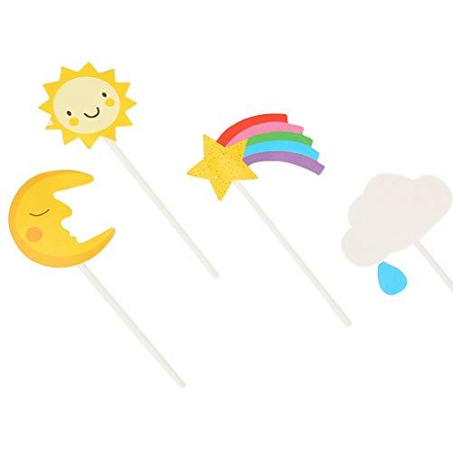 (IslandseSun Moon Cloud Rainbow Airplane Rocket Hot Air Cake Decorative 48 Pack)