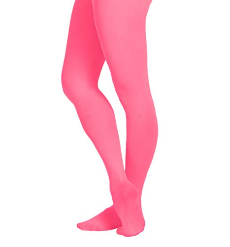 EMEM Apparel Girls' Kids Childerns Solid Colored Opaque Dance Ballet Costume Microfiber Footed Tights Stockings Fashion Hot Pink 10-14 -