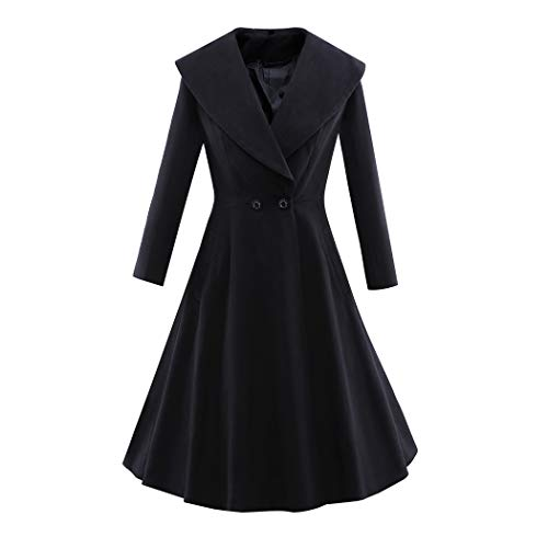 Palazen Womens New Long Sleeve A-line Button Slim Fit Swing Wool Pea Trench Coat, Black/XL