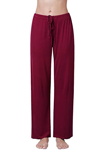 Air Curvey Womens Pajama Pants Wide Leg Lounge Pants Wine Red M ()