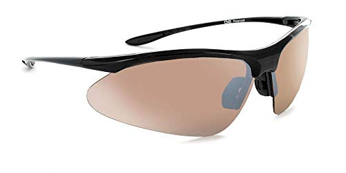 Optic Nerve Tightrope Polarized Sport Sunglasses - Shiny Black Frame with Polarized Brown with Silver Flash Lens