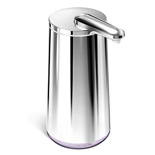 simplehuman Foam Sensor Pump with Lavender Soap Refillable Cartridge, High-Grade Polished Stainless Steel