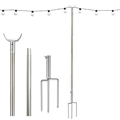 String Light Poles for Outside, 11 FT Stainless Steel Strong Wind Resistant, LED Solar Hanging Bulbs Used for Patio, Backyard, Courtyard Garden, Christmas Light Pole Hanger