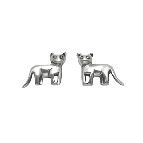 Small Sterling Silver Standing Kitten Stud Earrings