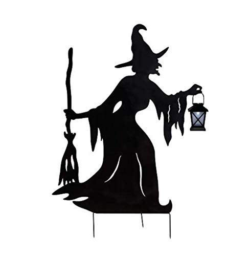 Halloween Witch Silhouette with Solar Lantern Halloween -