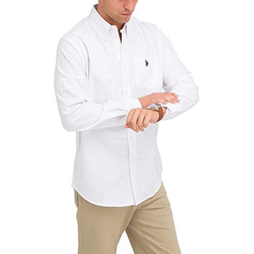 U.S. Polo Assn. Men's Solid Stretch Oxford Long Sleeve Shirt Optic White S