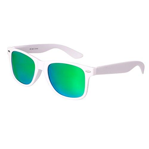 Nerd Sunglasses Matt Rubber Style Retro Vintage Unisex Glasses Spring Hinge Black - 24 Different Models (White-Green, - Raybans White