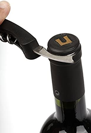 Vacu Vin Single Pull Sacacorchos, Acero Inoxidable, Negro, 13x2x3.5 cm