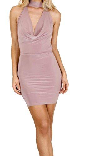 Femmes Coolred Profond Solide Cou Licol V-cou Rose Élégante Robe Club Courte