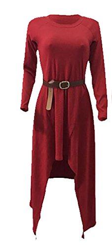 Allentato Altalena Donna Vestito Lunga Rossa Casuale Vino Tunica Jaycargogo Irregolare Manica Maglietta Bordo xw0XHH