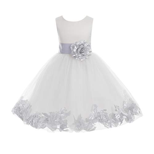 Wedding Pageant Flower Petals Girl Ivory Dress with Bow Tie Sash 302a 14