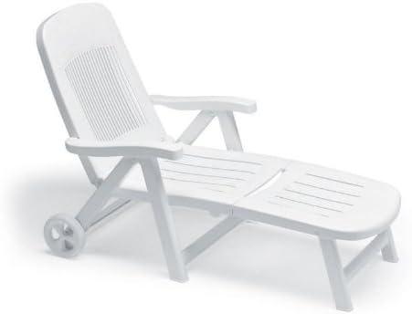 Scab - Tumbona de sol plegable y ajustable con ruedas, color blanco, de resina: Amazon.es: Jardín