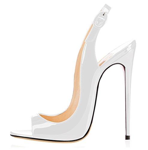 Tacco Spillo Slingback Toe Con Cinturino Caviglia Da Scarpe Bianco Peep Sandali Elashe A Fibbia Donna Xqz0Ixw