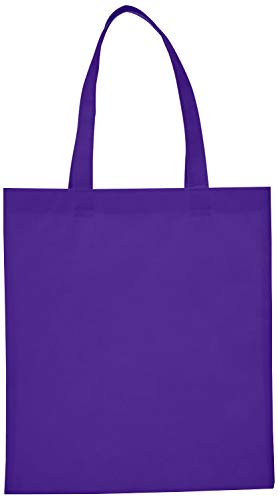 Reusable Convention - Conference Tote Bags Non Woven Bright Colors for Promotions, Giveaway Favors, Purple, Set of 50