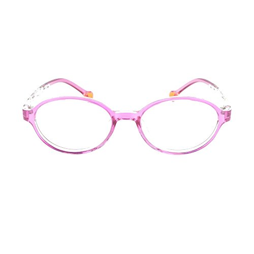 EyeBuyExpress Prescription Boys Girls Pink Clear Rounded Rectangular Reading Glasses Children Anti Glare Quality +0.75