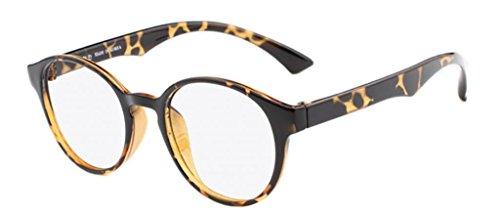 De Ding hommes de femmes de lunettes rétro ronde Leopard Cadre