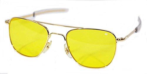 American Optical Original Pilot Bayonet 52 Gold Yellow Poly Sunglasses - Sunglasses Military Original Ao Pilot