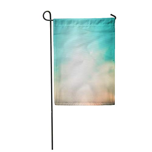 Semtomn Garden Flag 12x18 Inches Print On Two Side Polyester Orange Blurred Beautiful Natural Teal Sky Landscape Ray Flare Light Home Yard Farm Fade Resistant Outdoor House Decor Flag -