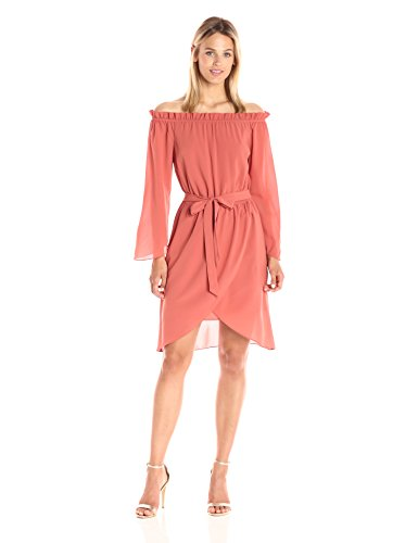 (Ali & Jay Women's Get Me to The Greek Off The Shoulder Long Sleeve Short Dress, Terracotta Large)