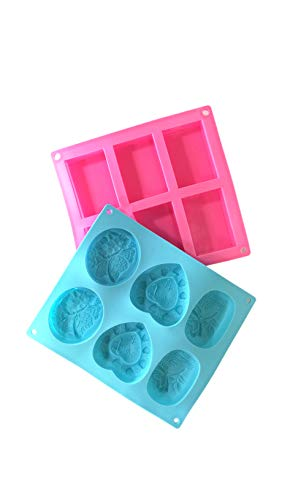 2 Pack 6 Cavity Silicon Soap Mold Rectangle Oval Heart Shape Homemade DIY Craft Tool by Hobby 4 All